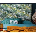 Vintage padded headboard made with fabric Palm Springs Green colours Thévenon