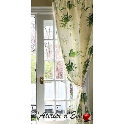 Leslie Rideau à oeillets coton fleurs blanches Made in France le rideau