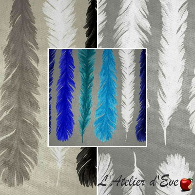 Nouveau monde (3 coloris) Tissu coton grande largeur motif plumes spécial tapissier Thevenon