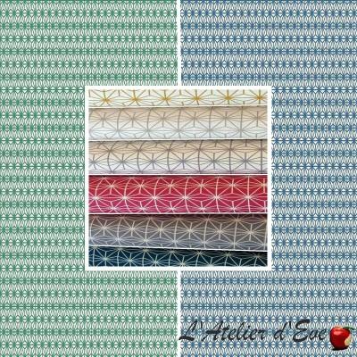 Soleil d'orient (8 coloris) Rouleau toile coton ameublement motif géomètrique Thevenon Pièce/demi-pièce