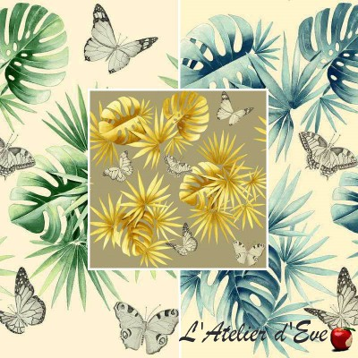 L'île aux papillons (3 coloris) Tissu ameublement coton grande largeur Thevenon