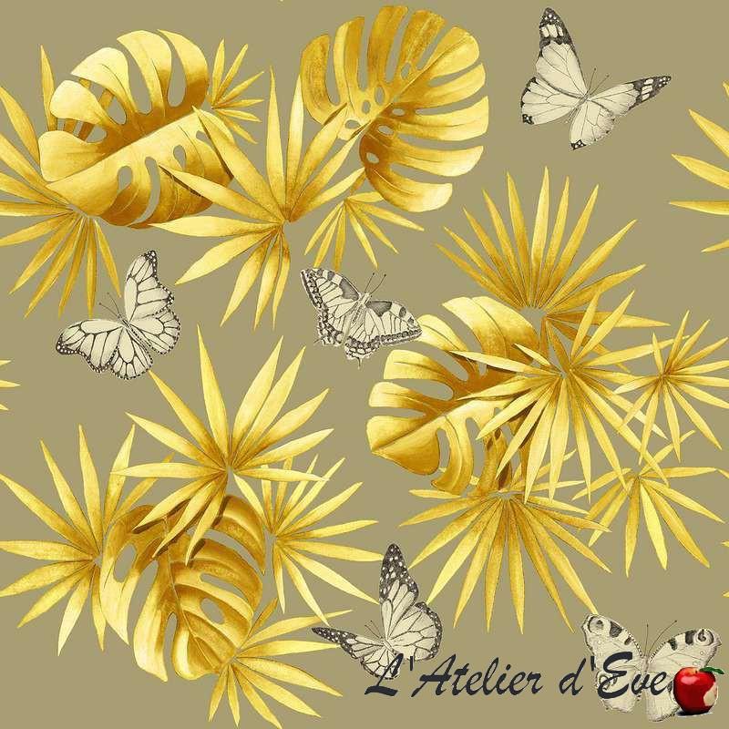 L'île aux papillons moutarde fond ficelle: Rideau à oeillets Made in France sur mesure L'Atelier d'Eve & Thevenon