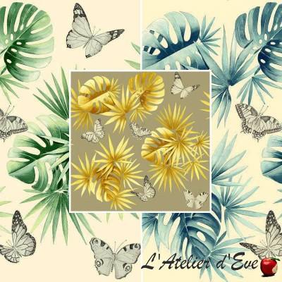 L'île aux papillons (3 coloris) Rouleau tissu tapissier coton grande largeur Thevenon Pièce/demi-pièce