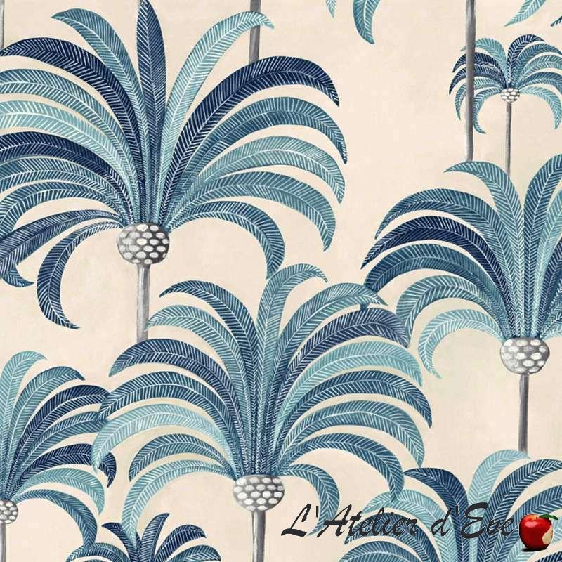 """""""La palmeraie"""" Toile ameublement 100% coton en grande largeur bleu azur fond crème de Thevenon"""
