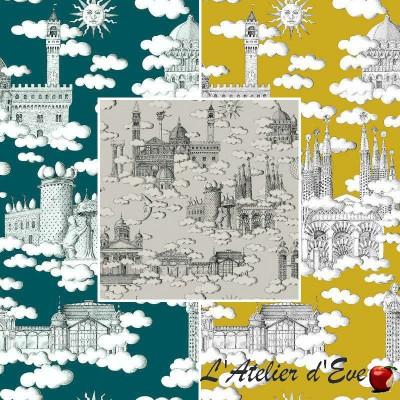 Sur un nuage (3 coloris) Tissu ameublement toile de jouy coton Thevenon