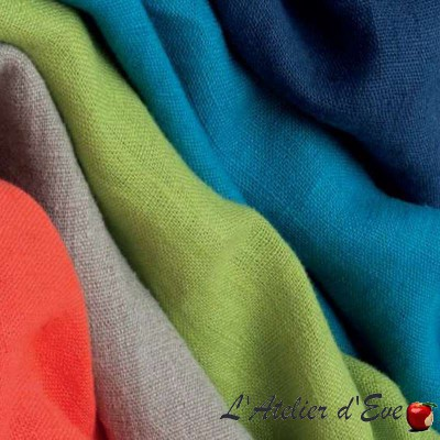 Lin lave (33 coloris) Rouleau tissu ameublement lin uni Thevenon Pièce/demi-pièce