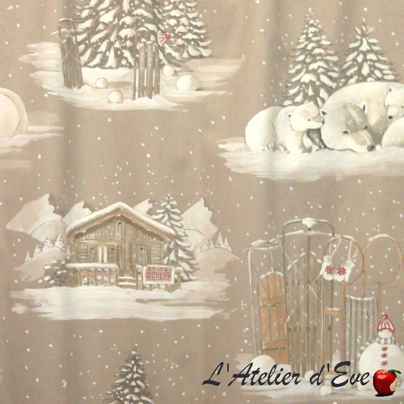 Blanc comme neige tissu ameublement coton grande largeur montagne/Noël Thevenon