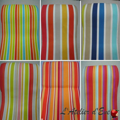 Canvas striped transat (8 colours) cotton canvas L.43cm striped top of range