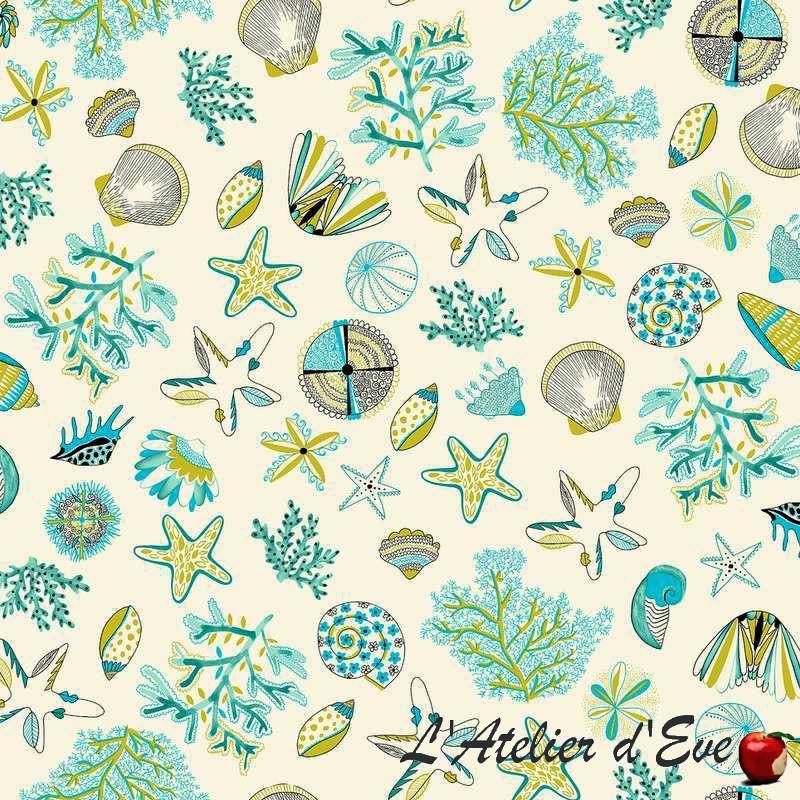 Achat tissu en gros Les Cyclades bleu/vert Thevenon