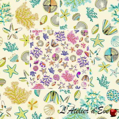 Les cyclades (3 coloris) Tissu ameublement coton motif coquillage Thevenon