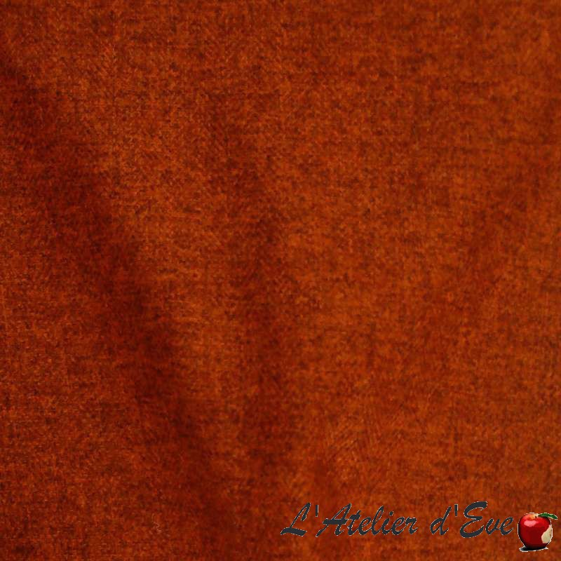 Rive gauche brique, rideau à oeillets sur mesure et Made in France, tissu jacquard Thevenon