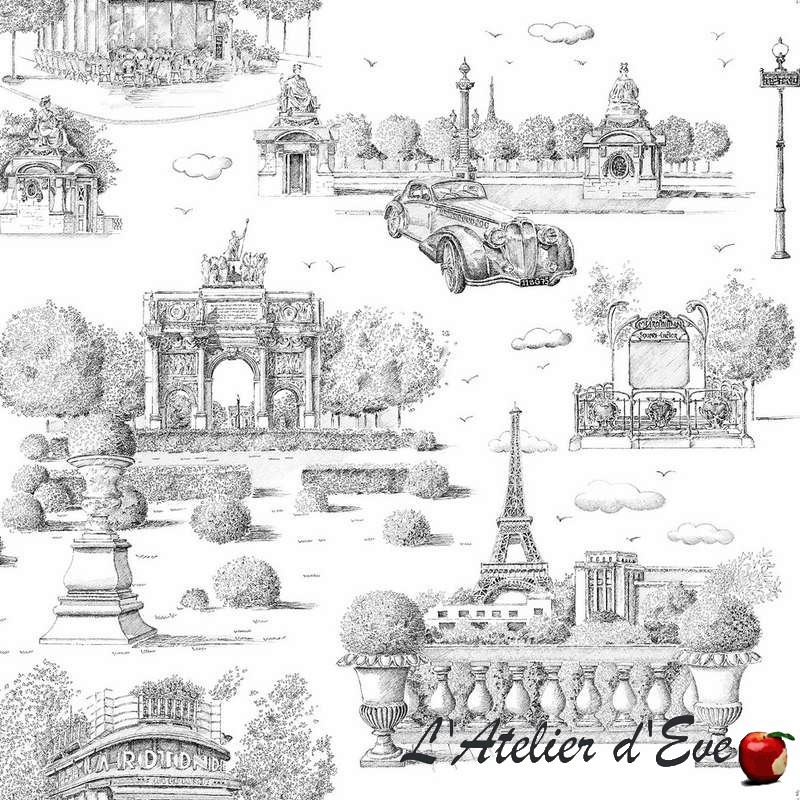 Place Vendôme noir fond crème Toile de jouy grande largeur pour ameublement et sièges tapissiers Thevenon