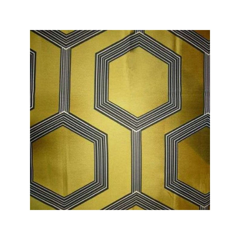 Hexagone jauneTissu ameublement jacquard grande largeur Thevenon