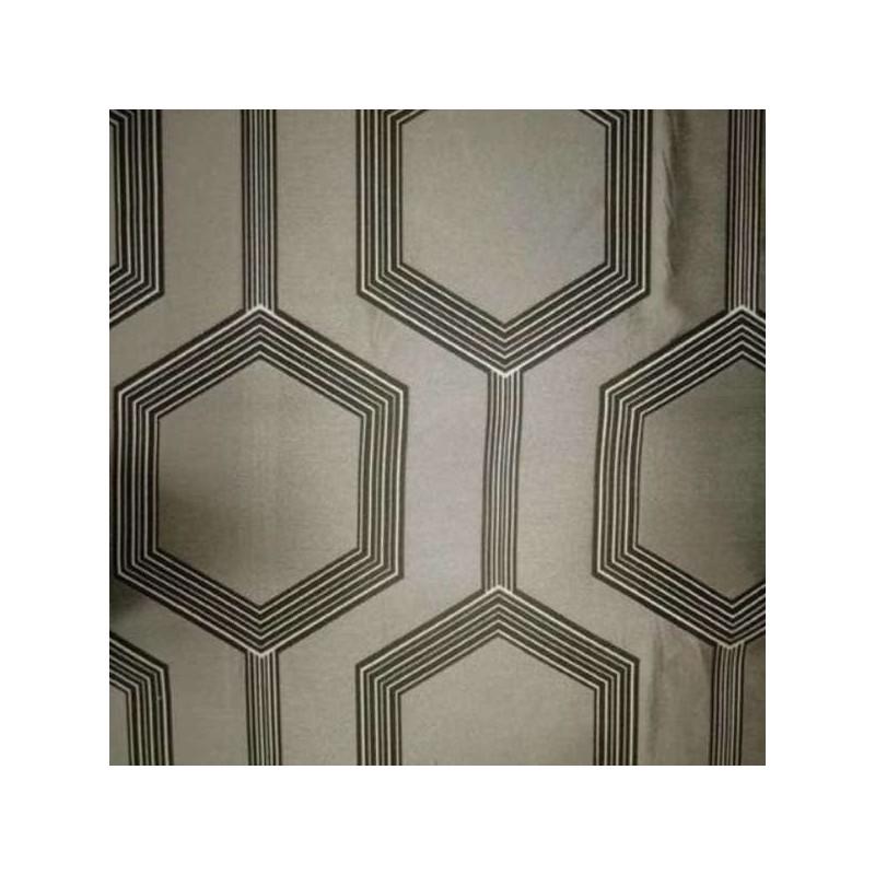 Hexagone Rideau a oeillets pret a poser jacquard ficelle Clair Fonce 1490720 le rideau