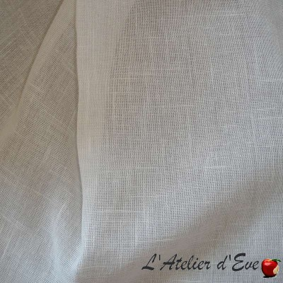 White cheesecloth broken curtain grommets Made in France Thévenon the curtain