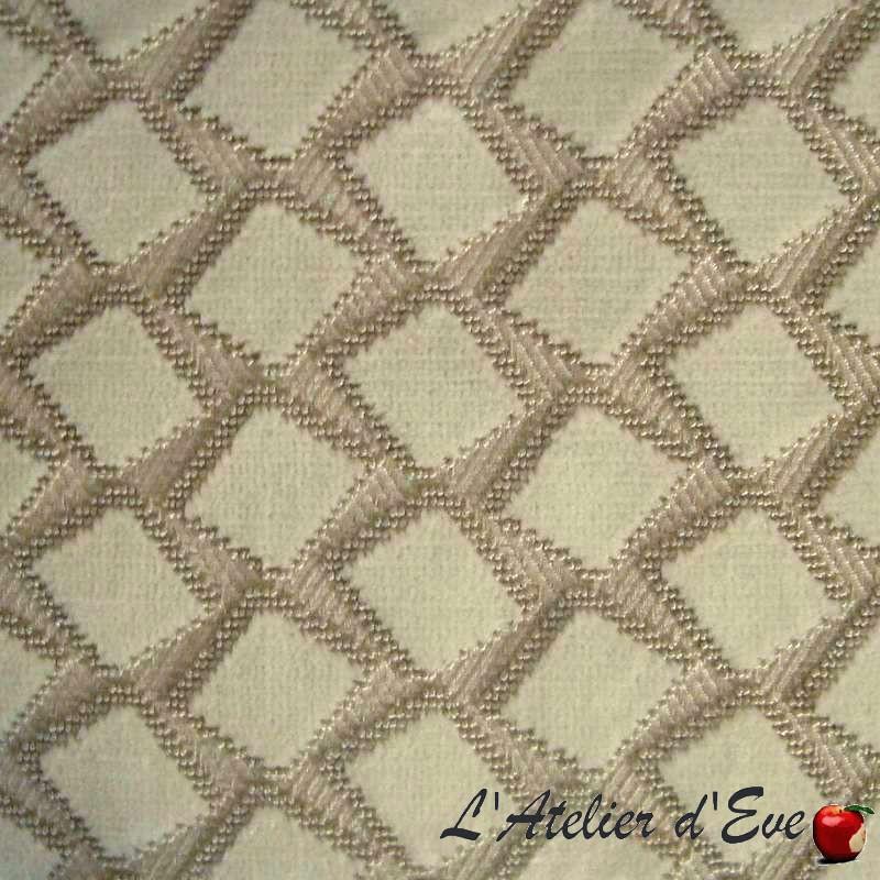 Tissu velours au mètre Scénario ivoire/sable pour ameublement et tapissier Casal