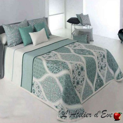 Cecyl (4 sizes) Celadon green jacquard bedcover C.04 Reig Marti