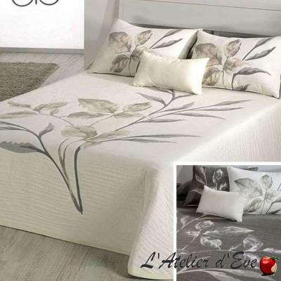 Leave gris/écru de Reig Marti, couvre-lit jacquard réversible fleuri C.01