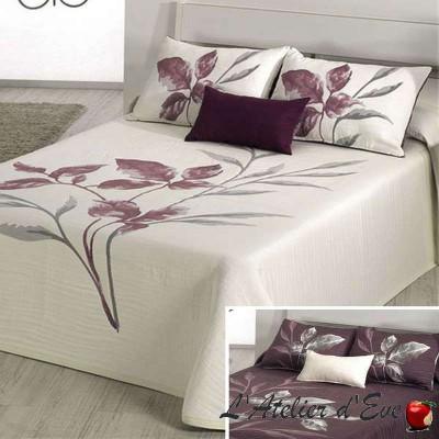 Leave écru/prune de Reig Marti, couvre-lit jacquard réversible fleuri C.02