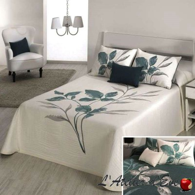 Leave (3 sizes) Flower Reversible Jacquard Bedspread C.03 Reig Marti