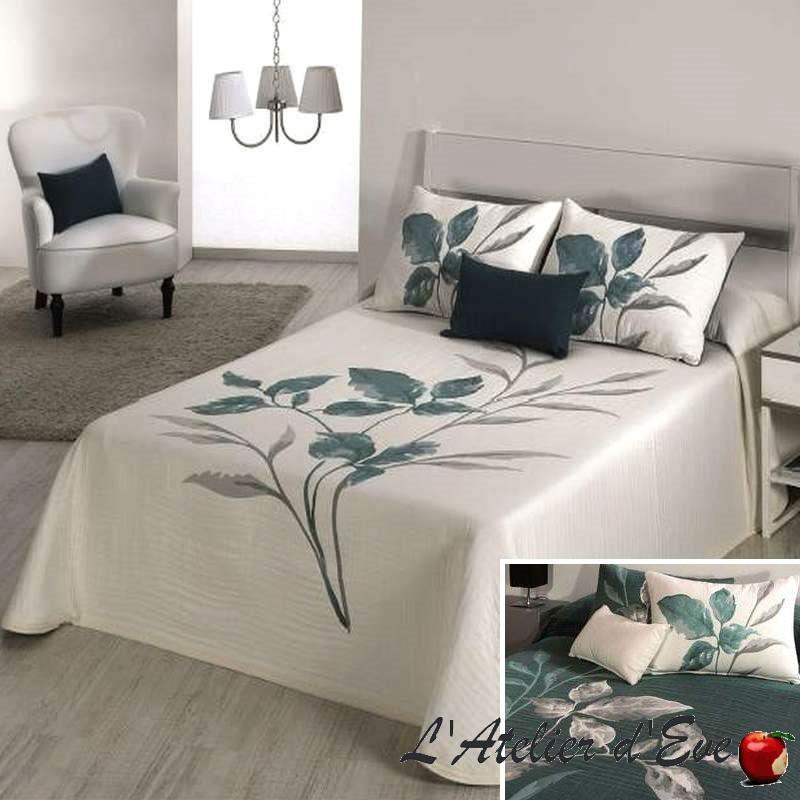 Leave bleu pétrole, couvre-lit jacquard réversible fleuri C.03 Reig Marti