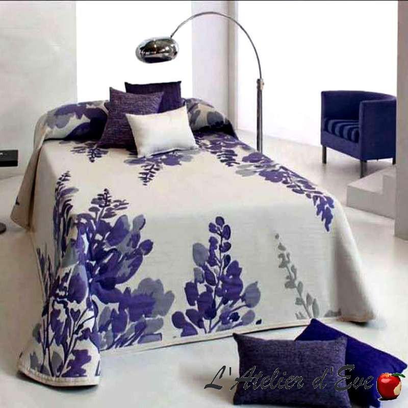 Lilac bleu de France, couvre-lit jacquard fleuri C.09 Reig Marti