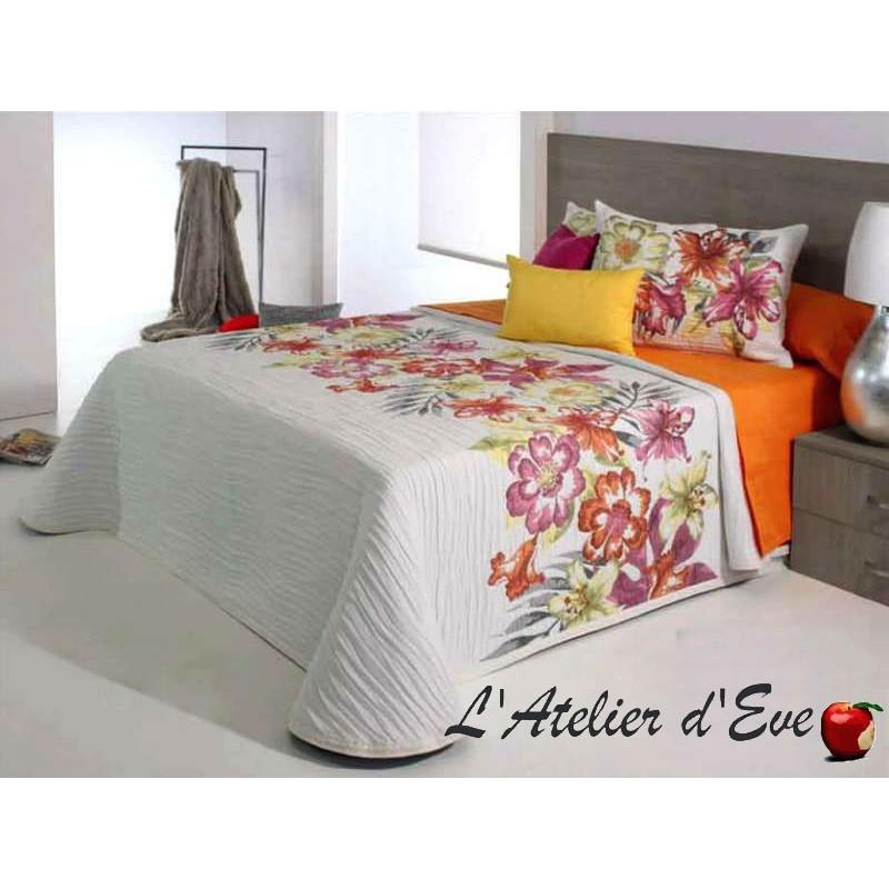 Cler orange, couvre-lit jacquard fleuri C.02 Reig Marti