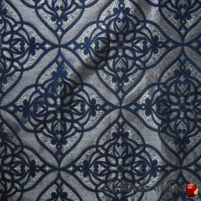 Ibiza Tissu jacquard velours bleu ameublement et siège Thevenon