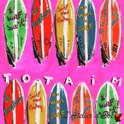 Surfari Toile ameublement coton fond rose Thevenon