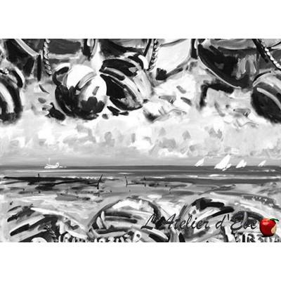 En barque et moi Toile ameublement coton motif bateau noir et blanc Thevenon/Patrick Plattier