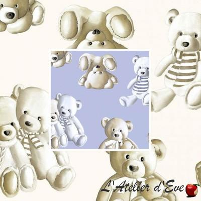 Teddy (2 coloris) Toile à drap enfant percale coton grande largeur Thevenon
