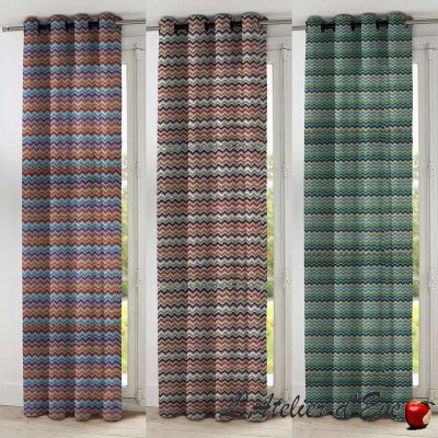 Renzo 3 coloris Rideau à oeillets prêt à poser jacquard rayure chenille