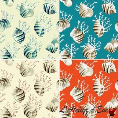 Ok Corail 4 coloris Tissu ameublement coquillages coton grande largeur Thevenon