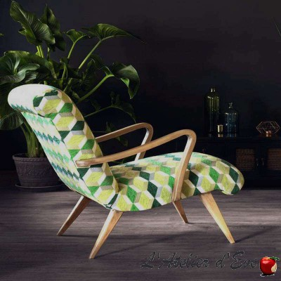 Rush (5 colors) fabric upholstery and seat Casal graphic