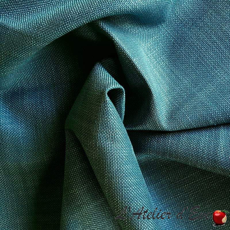 Zapata turquoise : Tissu ameublement aquaclean aspect lin