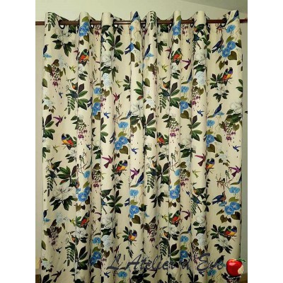 He was once curtain has grommets loan ask cotton percale birds and flowers the curtain