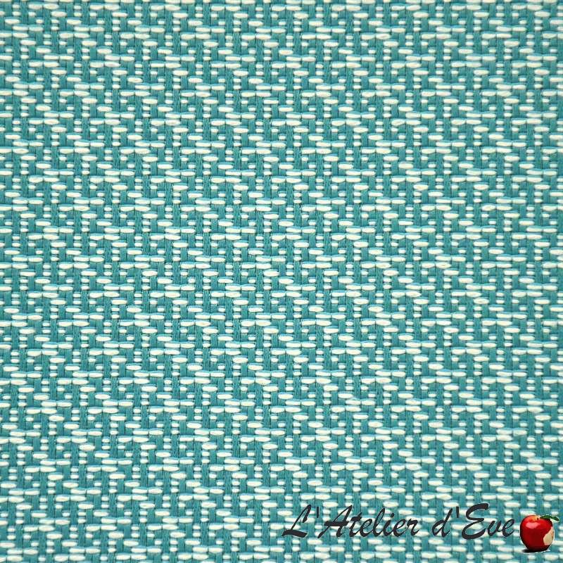 Eclat turquoise: Tissu ameublement non-feu m1 motif graphique Casal