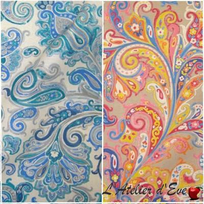 Hippy bleu-gris - Tissu ameublement coton grande largeur cachemire Thevenon vendu au mètre