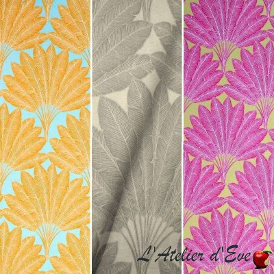The traveller tree (4 colors) cotton fabric great width feathers Thévenon