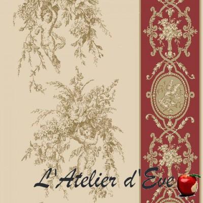 Justin Rideau a oeillets pret a poser toile de jouy piment Thevenon 638713 le rideau