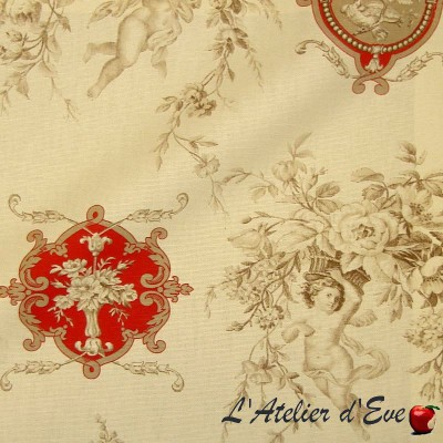 Justine piment Rideau Toile de Jouy Made in France Thevenon