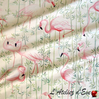 Flamingo Tissu ameublement coton motif Flamants roses L.140cm Thevenon