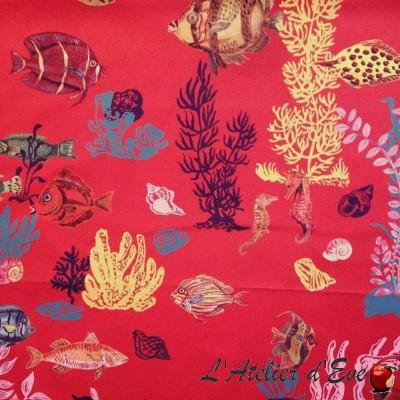 sous-la-mer-tissu-ameublement-coton-fond-rouge-thevenon