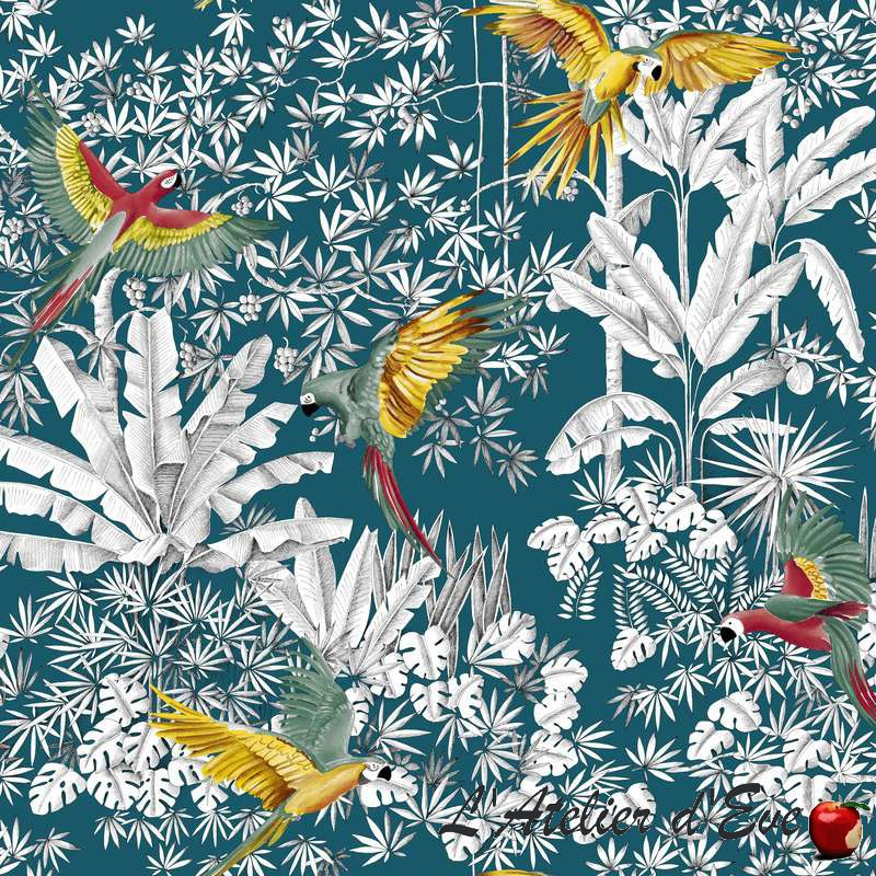 """Perroquets mania"" Tissu bleu grande largeur Thevenon"