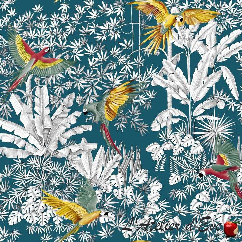Grossiste tissus pour professionnel Perroquets mania bleu de Thevenon