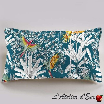 """Parrots mania"" Cushion 60x30cm cotton Thevenon"