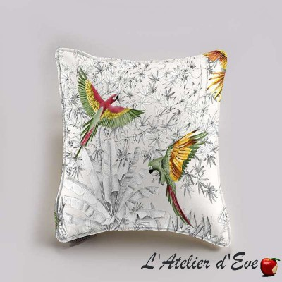 """Perroquets mania"" coton Coussin et taie Thevenon"