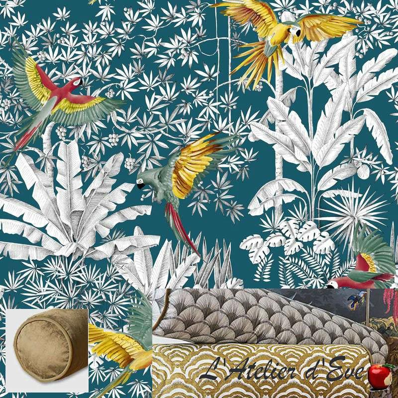 Traversin tissu 100% coton Perroquets mania fond lagon Thevenon