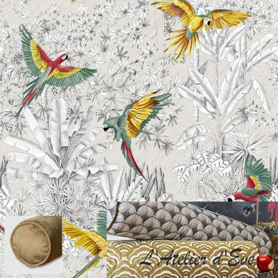 """Parrots mania"" Cushion and pillowcase Thevenon"