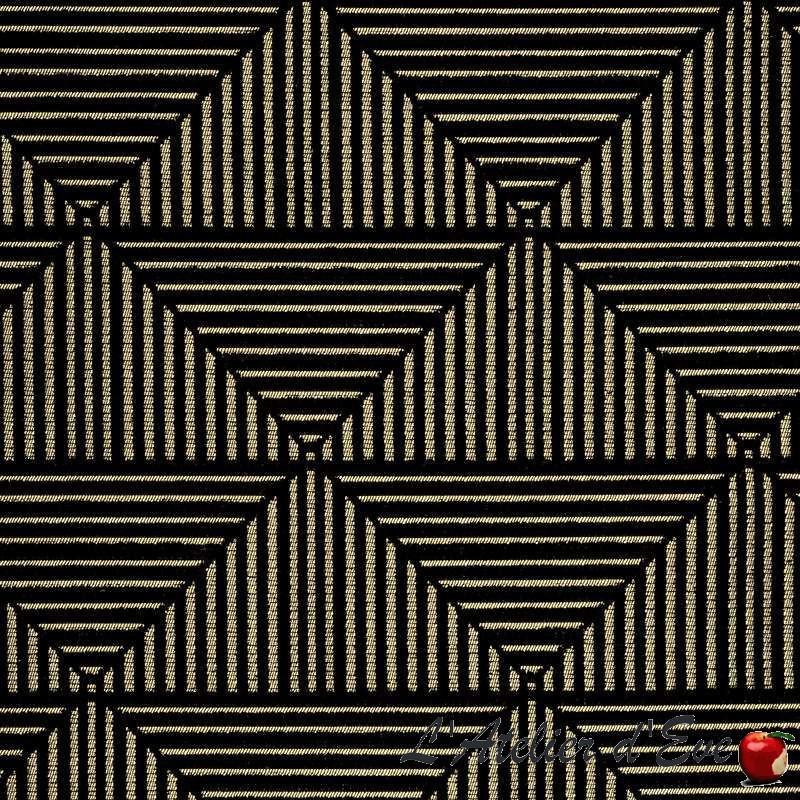 """""""Floyd"""" Tissu noir ameublement jacquard graphique Thevenon"""